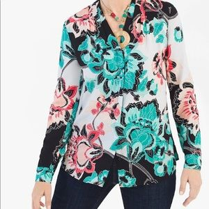 Chico's Multi-print Feminine long-sleeve shirt
